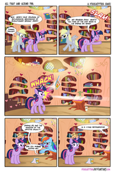 Size: 1206x1800 | Tagged: artist:pixelkitties, black eye, book, censored, comic, daring do, derpy hooves, female, golden oaks library, grawlixes, implied shipping, indiana jones, indiana jones and the kingdom of the crystal skull, lesbian, library, mare, pegasus, pony, rainbow dash, safe, trixie, twilight sparkle