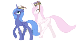 Size: 4000x2121   Tagged: safe, artist:shachza, princess celestia, princess luna, balancing, blank flank, book, charm school, cheating, cute, cutelestia, duo, eyes closed, floppy ears, grin, lunabetes, missing accessory, open mouth, s1 luna, shaking, simple background, smiling, walking