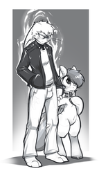 Size: 608x1064 | Tagged: artist:0r0ch1, bipedal, furry, grayscale, leash, monochrome, oc, oc:0r0ch1, pony, rainbow dash, safe