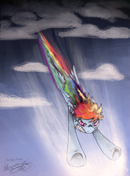Size: 661x894 | Tagged: safe, artist:malicieuxx, rainbow dash, cloud, flying, sky, solo