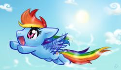 Size: 322x188 | Tagged: safe, artist:mahoxyshoujo, rainbow dash, cloud, cloudy, flying, sky, sun