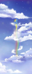 Size: 400x900 | Tagged: safe, artist:cheerubi, rainbow dash, pegasus, pony, cloud, cloudy, cutie mark, female, flying, rainbow trail, sky, solo, spread wings, wings