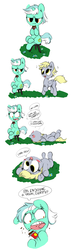 Size: 1191x4149   Tagged: artist needed, source needed, safe, derpy hooves, lyra heartstrings, pegasus, pony, unicorn, balloonshop, chocolate, comic, derp, dialogue, duo, eating, food, grass, lyra is not amused, on back, parody, simple background, sitting, stool, unamused, white background
