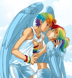 Size: 531x575 | Tagged: safe, artist:zoe-productions, rainbow dash, dashblitz, female, humanized, male, midriff, rainbow blitz, rule 63, self ponidox, selfcest, shipping, straight, winged humanization