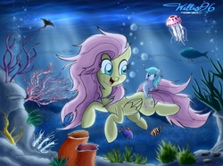 Size: 2977x2220 | Tagged: artist:willisninety-six, fish, fluttershy, jellyfish, manta ray, safe, sea pony, swimming, underwater, watershy