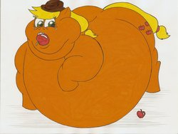 Size: 1280x965 | Tagged: safe, artist:robot001, applejack, apple, applefat, belly, double chin, fat, morbidly obese, obese, stuffing