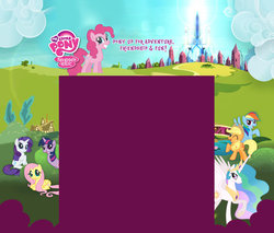 Size: 1600x1364 | Tagged: applejack, background, crystal empire, fluttershy, hubworld, mane six opening poses, my little pony logo, official, pinkie pie, princess celestia, rainbow dash, rarity, safe, spoiler:s03, stock vector, the crystal empire, twilight sparkle, twiworm