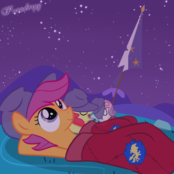 Size: 2500x2500 | Tagged: safe, artist:slitherpon, apple bloom, scootaloo, sweetie belle, cutie mark crusaders, night, sky, sleeping, sleeping bag