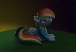 Size: 2000x1385 | Tagged: safe, artist:skipsy, rainbow dash, pegasus, pony, female, grass, looking up, lying down, mare, night, night sky, sky, solo, starry night, sunset