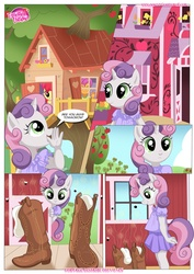 Size: 1024x1447   Tagged: safe, artist:bbmbbf, apple bloom, scootaloo, sweetie belle, anthro, comic:be my special somepony, equestria untamed, be my special somepony, boots, clothes, comic, dress, palcomix