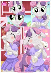 Size: 1024x1447   Tagged: safe, artist:bbmbbf, sweetie belle, anthro, comic:be my special somepony, equestria untamed, be my special somepony, blushing, clothes, comic, dress, palcomix, sniffing, socks