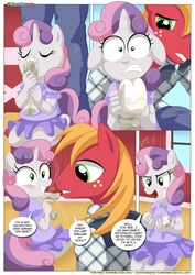 Size: 1024x1447   Tagged: safe, artist:bbmbbf, big macintosh, sweetie belle, anthro, comic:be my special somepony, equestria untamed, barefoot, be my special somepony, clothes, comic, dress, feet, female, lies, male, palcomix, shipping, straight, sweetiemac