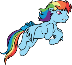 Size: 1017x919   Tagged: dead source, safe, artist:alisonwonderland1951, rainbow dash, pegasus, pony, g1, g4, bow, female, flying, g4 to g1, generation leap, mare, simple background, tail bow, transparent background