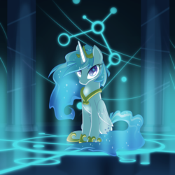 Size: 2025x2025 | Tagged: alicorn, alicornified, artist:equestria-prevails, female, g1, galaxy (g1), glow, jewelry, looking at you, majesty, mare, pony, princess galaxia, race swap, regalia, safe, sitting, solo