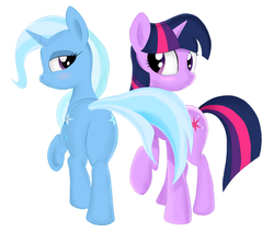 Size: 2726x2319 | Tagged: safe, artist:kas92, trixie, twilight sparkle, female, lesbian, plot, shipping, twixie