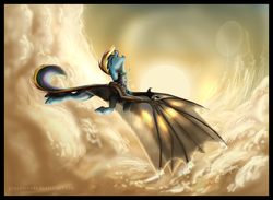 Size: 4215x3089 | Tagged: safe, artist:gonedreamer, rainbow dash, dracony, hybrid, absurd resolution, cloud, dragon wings, fangs, female, flying, mare, rainbow dragon, sky, solo, sun, this will end in fire, transformation