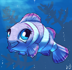 Size: 830x800 | Tagged: artist:atryl, clownfish, fish, fishified, maybe salmon, pinkie pie, safe, solo, species swap, underwater