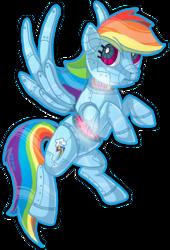 Size: 680x1000 | Tagged: safe, artist:themoonfall, rainbow dash, oc, oc:rainbot dash, pegasus, pony, robot, robot pony, dashbot, female, flying, mare, mecha, signature, simple background, solo, transparent background