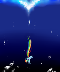 Size: 1000x1200 | Tagged: abstract background, artist:chch, askdrrnmsd, bubble, female, flying, mare, pony, rainbow dash, safe, solo, underwater, water