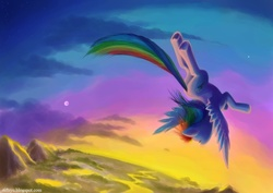 Size: 1200x850 | Tagged: safe, artist:riftryu, rainbow dash, pegasus, pony, cloud, cloudy, flying, scenery, sky, solo