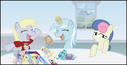 Size: 2990x1532 | Tagged: safe, artist:t-3000, bon bon, carrot top, derpy hooves, golden harvest, lyra heartstrings, sweetie drops, pegasus, pony, blind bag, bon bon is not amused, brushable, card, clothes, enterplay, female, figure, funko, happy, magic, mare, sad, shirt, smiling, telekinesis, toy, window