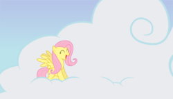 Size: 11250x6480 | Tagged: safe, artist:lazypixel, fluttershy, pegasus, pony, absurd resolution, cloud, cute, eyes closed, female, happy, mare, shyabetes, sitting, sky, solo, spread wings, vector, wings