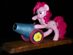 Size: 3453x2610 | Tagged: safe, artist:madponyscientist, pinkie pie, pony, custom, irl, party cannon, photo, sculpture, solo