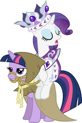 Size: 3801x5694   Tagged: safe, artist:scrimpeh, clover the clever, princess platinum, rarity, twilight sparkle, unicorn, bridle, crown, duo, eyes closed, jewelry, ponies riding ponies, regalia, riding, unicorn twilight