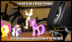 Size: 1644x951 | Tagged: safe, applejack, fluttershy, pinkie pie, rainbow dash, rarity, twilight sparkle, blind bag, image macro, irl, ouch, owned, photo, rebel trooper, star wars, toy