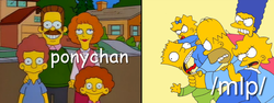 Size: 1025x386 | Tagged: 4chan, choking, comparison, meta, /mlp/, ponychan, safe, the simpsons, why you little