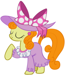 Size: 1970x2290 | Tagged: artist:liggliluff, carrot top, clothes, dress, golden harvest, pony, safe, show accurate, simple background, solo, transparent background, vector