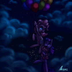 Size: 1200x1200 | Tagged: safe, artist:rwl, pinkie pie, twilight sparkle, balloon, cloud, cloudy, female, floating, flying, lesbian, low light, night, night sky, shipping, sky, stars, then watch her balloons lift her up to the sky, twinkie