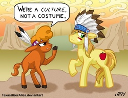 Size: 720x553   Tagged: safe, artist:texasuberalles, braeburn, little strongheart, buffalo, earth pony, pony, costume, cultural appropriation, duo, female, male, stallion, we're a culture not a costume