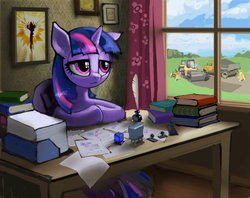 Size: 3508x2780 | Tagged: safe, artist:vombavr, twilight sparkle, book, bored, curtains, diploma, dump truck, ink, office, paper, picture, quill, stamp, steam roller, vehicle, window