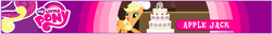 Size: 732x94 | Tagged: safe, screencap, applejack, misspelling, my little pony logo, name, official, the hub
