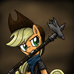 Size: 750x750 | Tagged: safe, artist:silentbutbeardly, applejack, armor, crossover, hammer, mouth hold, skyrim, solo, the elder scrolls, weapon