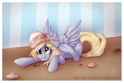 Size: 1000x667 | Tagged: safe, artist:vella, derpy hooves, pegasus, pony, female, hooves, mare, scrunchy face, solo