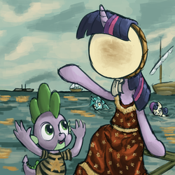 Size: 1000x1000 | Tagged: safe, artist:derkrazykraut, bon bon, lyra heartstrings, spike, sweetie drops, twilight sparkle, album cover, boat, bon bon is not amused, in the aeroplane over the sea, neutral milk hotel, parody, potato, ship, swimming, unamused, water