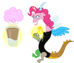Size: 1275x1092 | Tagged: safe, artist:zimvader42, cranky doodle donkey, discord, fido, gummy, pinkie pie, alligator, crocodile, diamond dog, donkey, draconequus, hydra, parasprite, chocolate milk, chocolate rain, cotton candy, cotton candy cloud, draconequified, food, glass, grin, magic, multiple heads, pinkonequus, simple background, smiling, species swap, squee, transparent background, xk-class end-of-the-world scenario