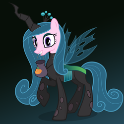 Size: 3000x3000 | Tagged: safe, artist:ohitison, princess cadance, queen chrysalis, costume, mask, solo, trick or treat