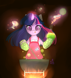 Size: 900x993 | Tagged: apron, artist:starshinebeast, bipedal, cauldron, clothes, cooking, dark, fire, flask, food, glow, magic, mittens, multitasking, pony, safe, tongue out, twilight sparkle
