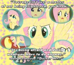 Size: 500x441 | Tagged: safe, fluttershy, bravery, courage, doctor who, fear, jon pertwee, motivation, motivational, quote