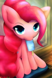 Size: 640x960 | Tagged: safe, artist:dshou, pinkie pie, earth pony, pony, female, food, ice cream, looking at you, mare, popsicle, sea salt ice cream, sitting, solo
