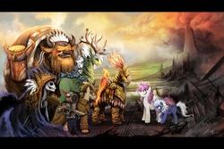 Size: 1920x1280 | Tagged: safe, artist:ziom05, doctor whooves, philomena, princess celestia, princess luna, time turner, oc, oc:ban dragonheart, oc:fenix the dragonslayer, oc:pallanen lifekeeper, buffalo, butterfly, deer, dragon, ent, lich, monarch butterfly, phoenix, undead, g1, armor, buffalo oc, doctor who, epic, flintlock, gun, magic the gathering, nose piercing, nose ring, piercing, skeleton, surprised, technically advanced, totem