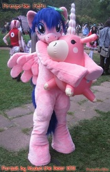 Size: 380x590 | Tagged: safe, artist:atalonthedeer, firefly, balloonicorn, cosplay, fursuit, g1, g1 to g4, generation leap, irl, photo