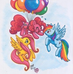 Size: 789x800 | Tagged: safe, artist:mahoxyshoujo, fluttershy, pinkie pie, rainbow dash, balloon, flying, then watch her balloons lift her up to the sky, traditional art