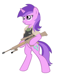 Size: 777x1027 | Tagged: safe, artist:amethyst-star-mlp, amethyst star, sparkler, pony, unicorn, bipedal, body armor, cutie mark, dexterous hooves, female, flak jacket, gun, hooves, horn, m110 sass, mare, navy, optical sight, rifle, simple background, sniper, sniper rifle, solo, teeth, text, transparent background, weapon