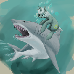 Size: 1324x1324 | Tagged: artist:erijt, awesome, finished version, land shark, lyra, lyra heartstrings, safe, shark, underwater