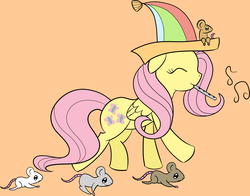 Size: 1287x1011 | Tagged: artist:erthilo, flute, fluttershy, hat, mouse, musical instrument, safe, smiling