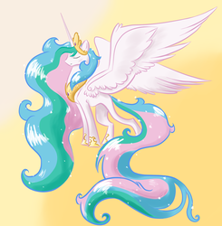 Size: 1250x1275 | Tagged: safe, artist:theperfecta, princess celestia, eyes closed, long tail, solo